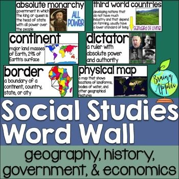 This product is a word wall to help teach important social studies vocabulary words to upper elementary or middle school students.The specific regions included are Europe, Australia, Latin America and the Caribbean, and Canada. However, the domains include geography, government, economy, and history, so this resource can be used in most social studies classrooms.Each word card includes the vocabulary word, definition, and a visual representation of the word, so students can make a…