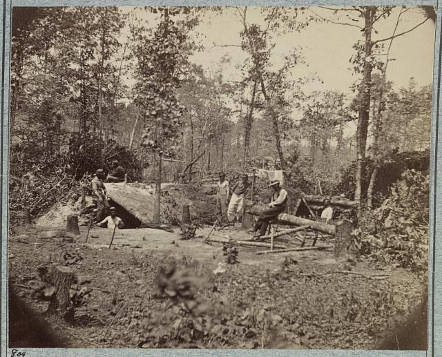 A bombproof shelter for the soldiers during the siege of Petersburg, August 10, 1864.