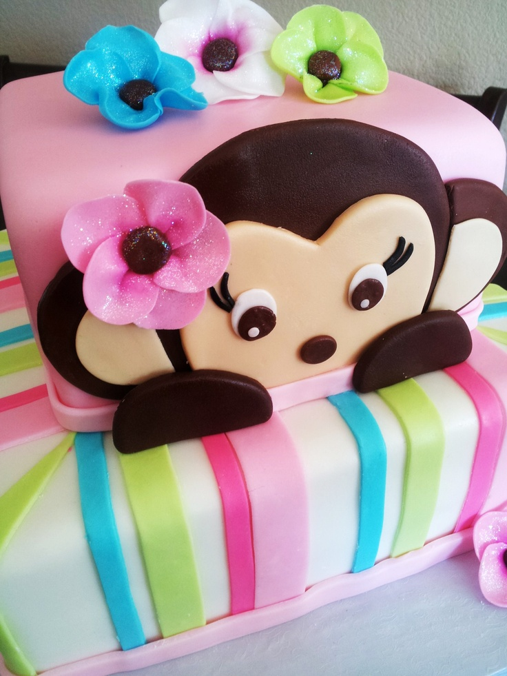 Monkey Cake...cute for baby shower or 1st birthday.