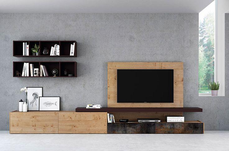 Modern living room ideas. Salones modulares modernos con panel de TV. Acabado roble nudoso combinado con cerámica óxido y vino.