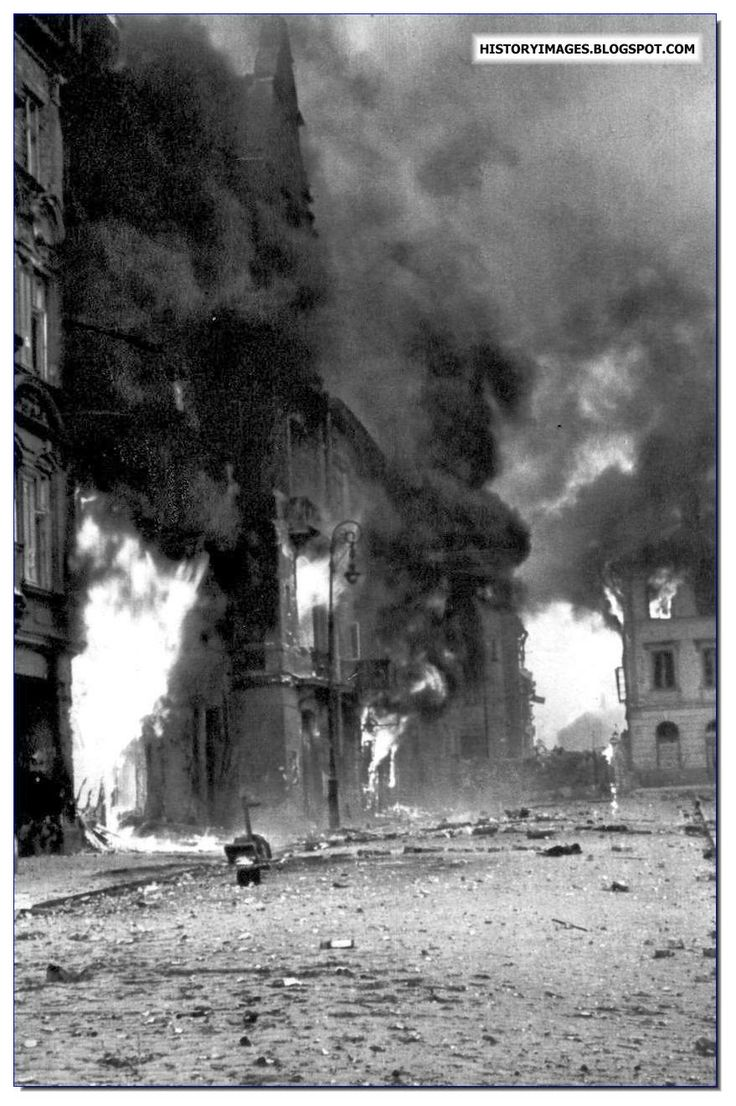 Warsaw burns during the Uprising. German occupied Poland.