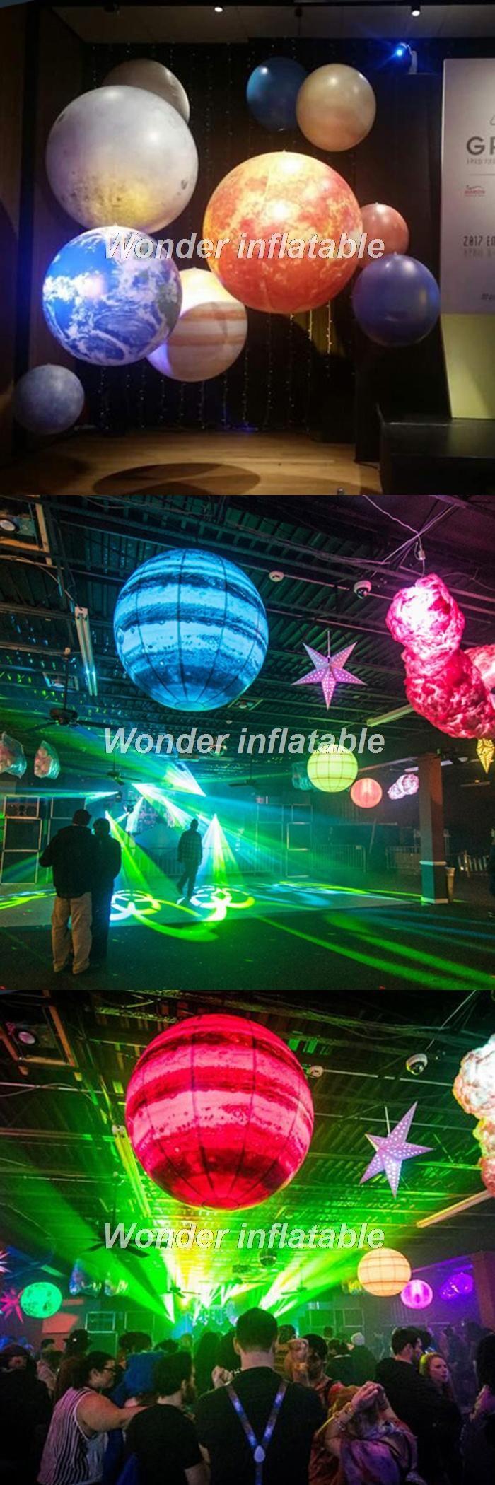 LED lighting 2m giant inflatable planet balloons earth moon Jupiter Saturn Uranus Neptune Mercury Venus for party decoration