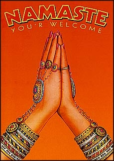 "Namaste postcard. Colorful bracelets. Greeting.  A simple translation of Namaste is ""I bow to the divine in you""   Traditional India greeting.  Yoga.  [Click to read more.]"