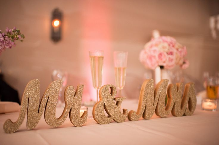 Gold Sparkle Mr & Mrs Sign | Reception Tablescapes.  Elegant Gold Blush Wedding by Kathy Thomas Photography » KnotsVilla  www.kathythomas.com