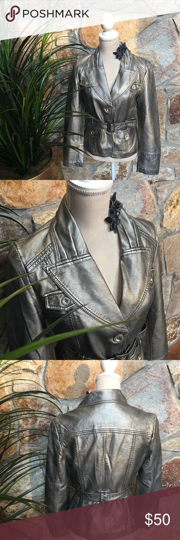 "Gitano Pewter faux leather belted jacket Perfect condition , Gitano pewter faux leather belted jacket , 60% PU , 40% viscose, 2 front pockets , fully lined , buttons details on sleeves , size S , approx 15.5"" shoulder to shoulder laying flat , 19"" pit to pit , length 22.5"", sleeves approx 24.5 "", waist 15"" laying flat, belt length approx 41 "" Gitano Jackets & Coats"