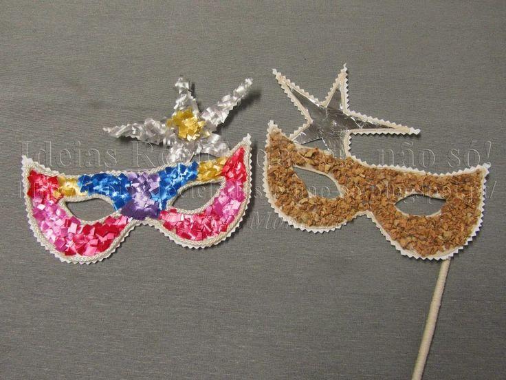 Máscaras de Carnaval decoradas com materiais reciclados. Artesanato e reciclagem. Com Passo a Passo.