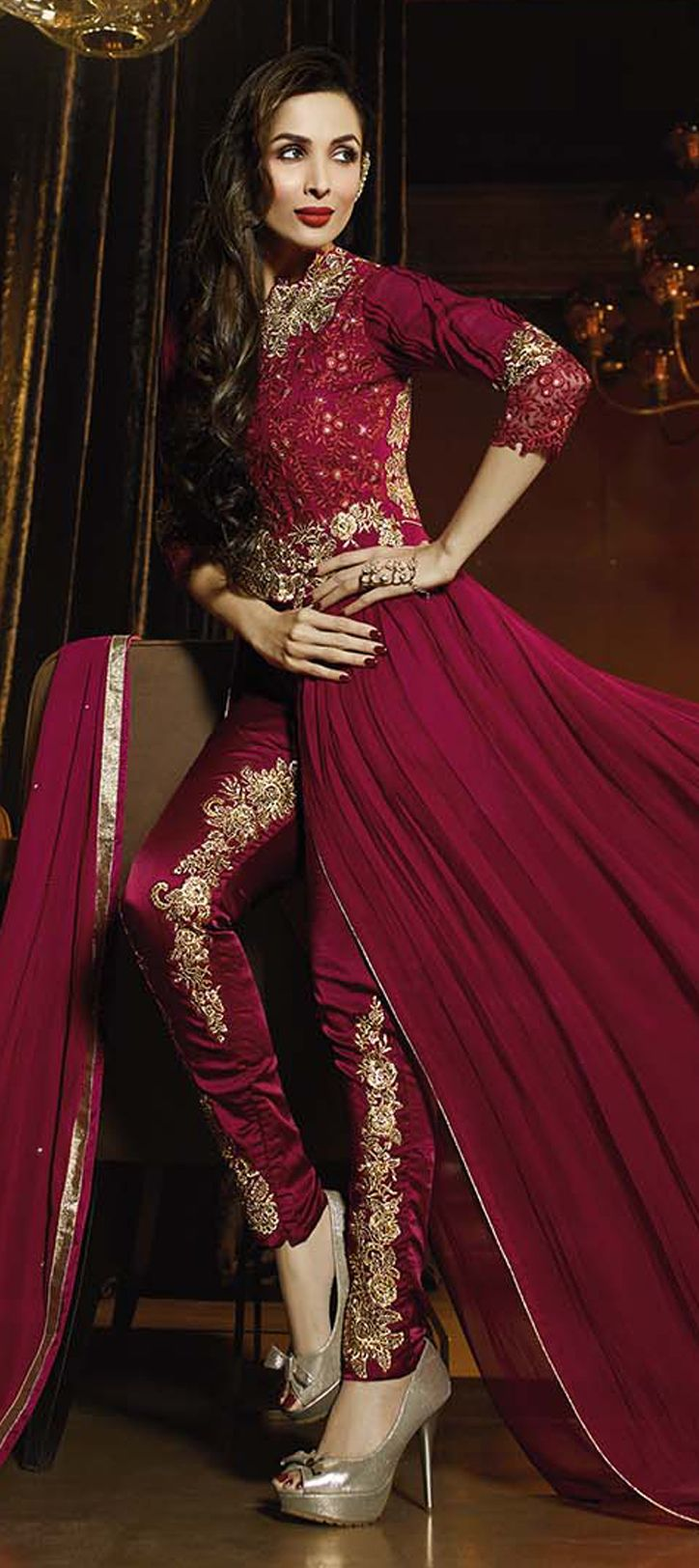 458324: Red and Maroon color family stitched Bollywood Salwar Kameez .