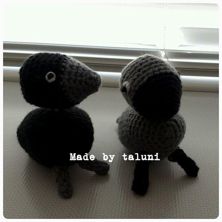 Two tiny crochet bird