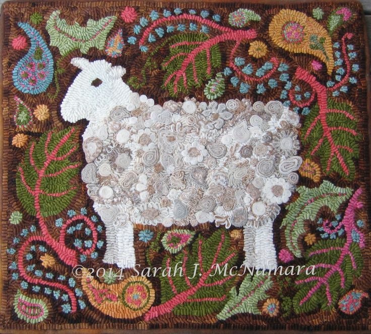 Paisley Sheep - made with standing wool circles (and paisleys)