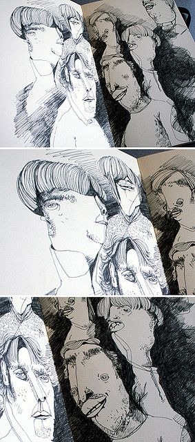 I love this quirky way of illustrating a sketchbook. It is atmospheric and interesting to look at. A lot of mark making techniques have been used to create it, using pen or ink as the media.