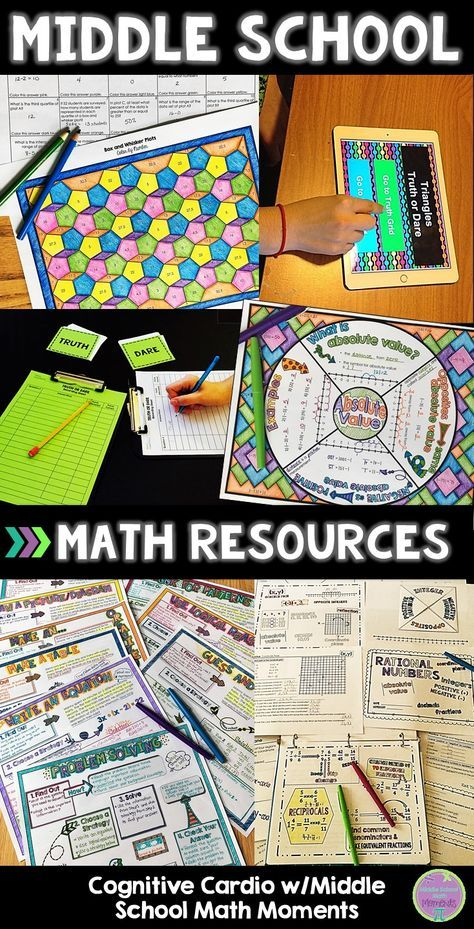 Are you looking for math resources that keep your middle school students engaged? Check out the standards-aligned units, math games, color by numbers, math wheel notes, and more! #middleschool #math