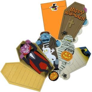 Halloween Dracula's Coffin & Monster Card Set,Craft Cards,Card,Halloween,pumpkin,Pumpkin ,Mechanism,Coffin