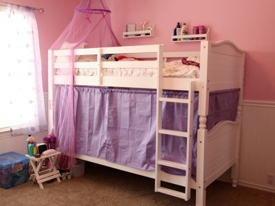 Bunk Bed Curtains. One sibling can stay up and read and the other can go to sleep.