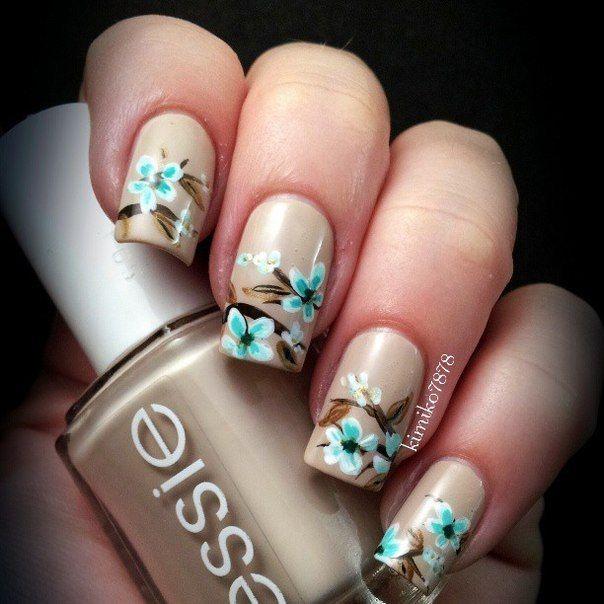 Casual nails, Everyday nails, flower nail art, Long nails, Nails with flowers, Nails with turquoise, Spring nail designs, Spring nails 2016