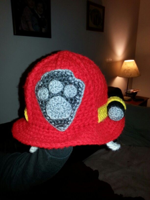 Paw patrol crochet fire hat Marshall