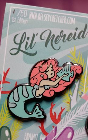 40mm Hard Enamel mermaid pins! Choose from 3 color variants! (or all three!)