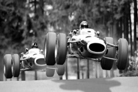 """Flying F1 car"" :Jackie Stewart and Graham Hill show at the old Nurburgring"