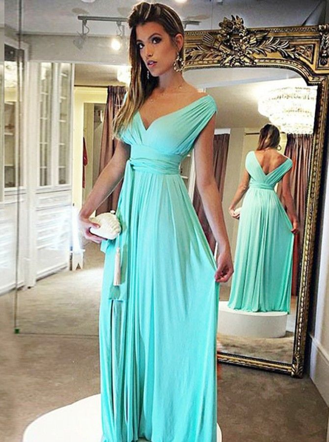49e796ef25a A-Line V-Neck Floor-Length Turquoise Chiffon Prom Dress with Sashes ...