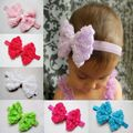 2016 Meninas Do Bebê Criança Moda Suave Chiffon Grande subiu Bowknot Hairband Do Cabelo Bow Headband meninas acessórios para o cabelo