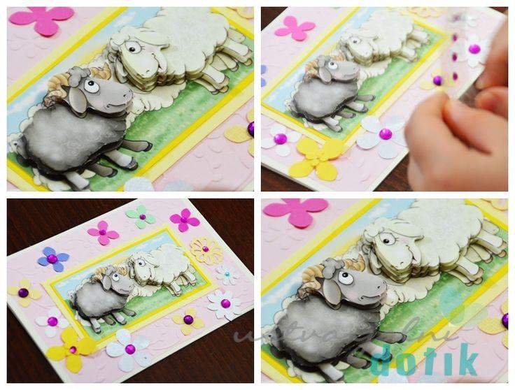 decoupage, lepljenka, ustvarjanje z otroki, ovcke, sheep,Marij Rahder, DIY, kids craft, Ustvarjalni dotik, sheeps