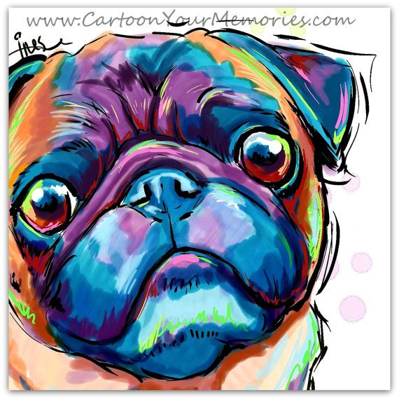 Pug visage art imprimé par CartoonYourMemories sur Etsy