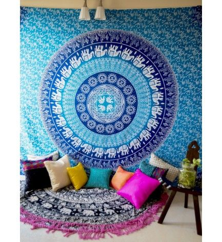 indian ombre round elephant and sun hippie wall hanging tapestry sheet