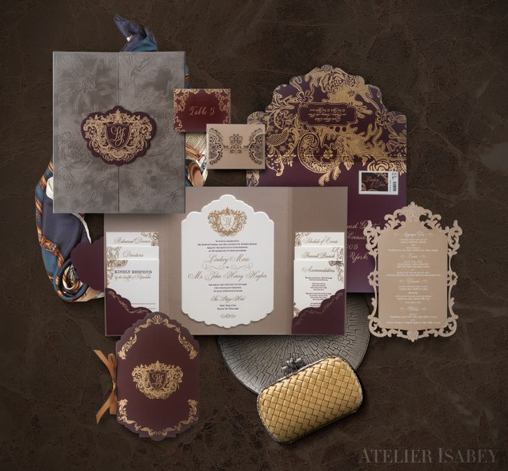 Luxury velvet, foil and letterpress wedding invitation suite for a wedding at The Plaza by Atelier Isabey