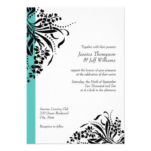 330 best aqua black wedding invitations images on pinterest card