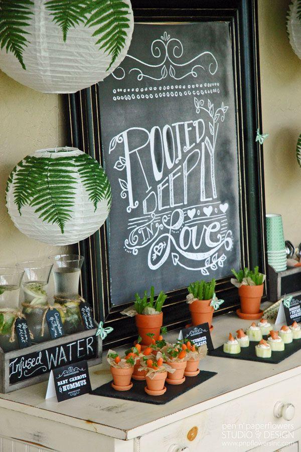 Potter Frenchy Party - Une fête chez Harry Potter: Inspiration : un cours de botanique à Poudlard - buffet de fête, fleurs et crudités