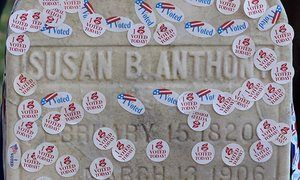 "Glass ceiling watch: will America elect Hillary Clinton as its first woman president? So much of the election has focused on women, and today they head to the polls. Follow along as we document what this historic day means to them.  The grave of women's suffrage leader Susan B. Anthony is pictured covered with ""I Voted"" stickers from the U.S. presidential election at Mount Hope Cemetery in Rochester, New York November 8, 2016."