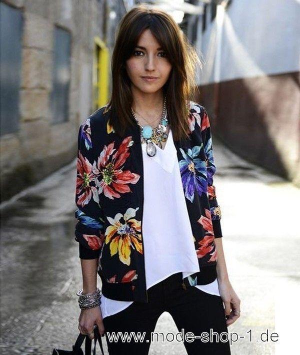 Damen Jacke in Schwarz mit Blumen Muster