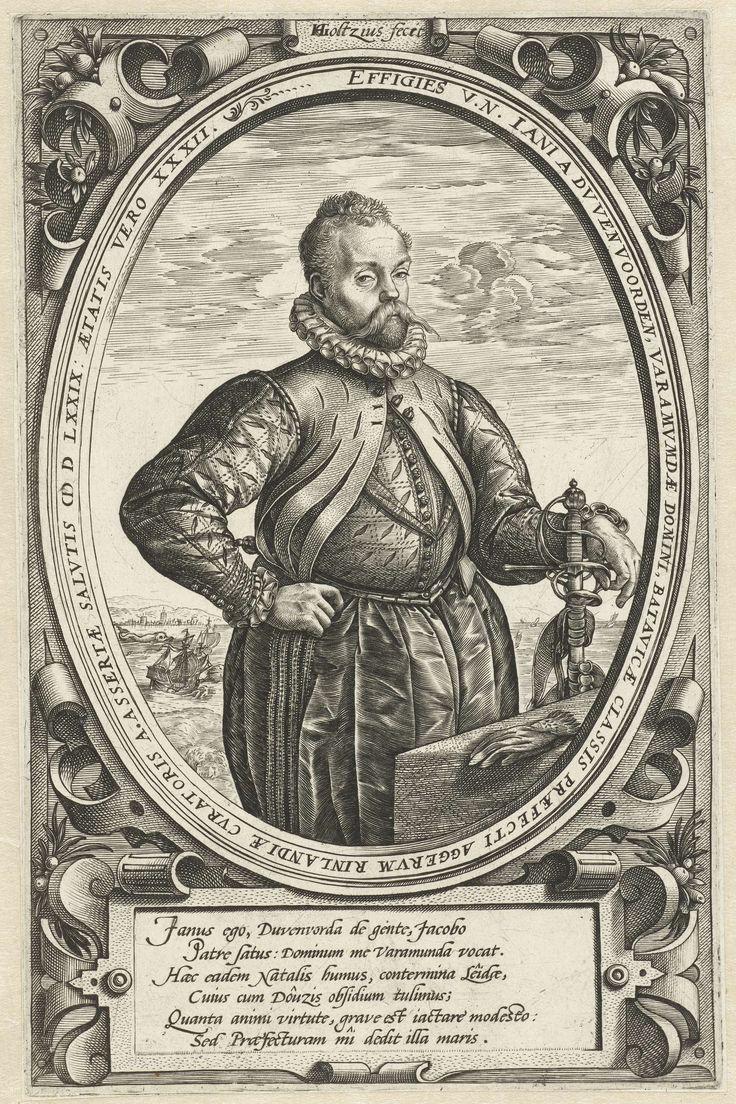 Hendrick Goltzius | Portret van Jan van Duvenvoorde op 32-jarige leeftijd, Hendrick Goltzius, 1577 - 1581 | Portret van Jan van Duvenvoorde, heer van Warmond, een van de leiders van het verzet tegen de Spanjaarden.  Afgebeeld vanaf kniehoogte, schepen in de achtergrond. Het portret is geplaatst in een ovaal, rondom een Latijnse tekst. Op deze prent is Van Duvenvoorde 32 jaar oud.