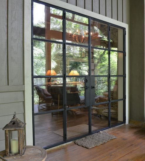 architectural style heavy 8' iron door, clean conventional lines
