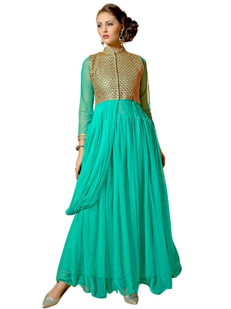 Elegant sea green color net gown with zari work on upper part and metal zip. Item Code: GANA1008V http://www.bharatplaza.com/new-arrivals/gowns.html