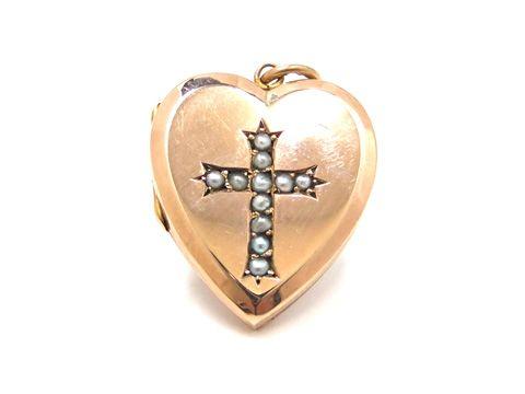 pearl heart locket