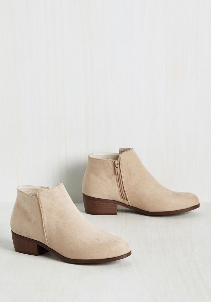 Bright Lights, Gig City Bootie - Tan, Solid, Work, Casual, Minimal, Summer, Good, Chunky heel, Ankle, Brown, Neutral, Low