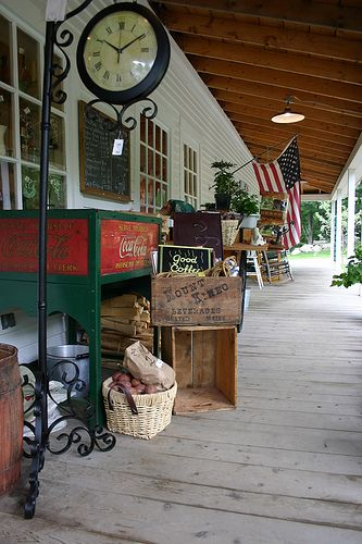 The front porch of a general store in Sebec, ME.