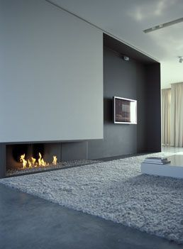 Minimal white and grey interior, the Loft B by Belgian Iso architects: Grey Interiors, Wall Fireplaces, The Loft, Minimal White, Tv Wall, Iso Architects, Contemporary Fireplaces, Media Wall, Fireplaces Wall