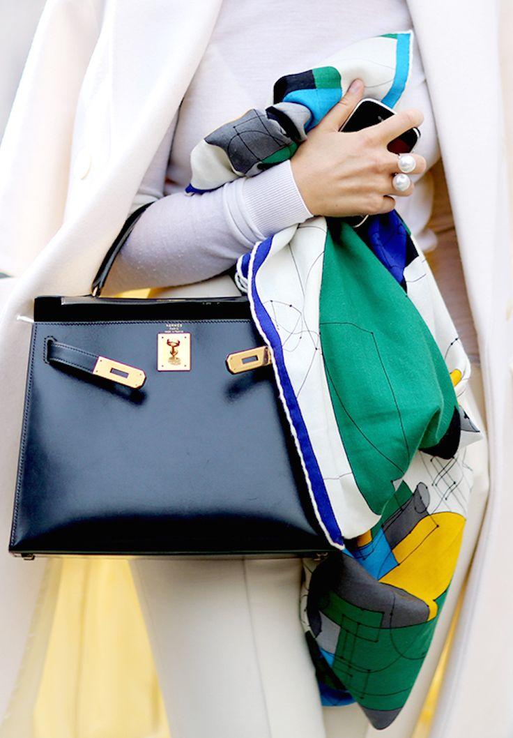 Hermes scarf and handbag are classics against an all white summer ensemble   Scarf Saga