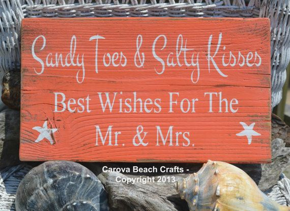 Beach Wedding Sign - Beach Sign - Beach Wedding - Guest Book - Coastal Wedding Decor - Sandy Toes Salty Kisses - Painted, No Vinyl - Rustic via Etsy