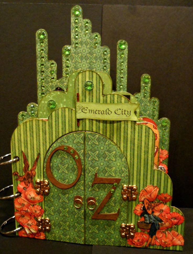 Graphic 45 Magic of Oz/Leaky Shed Emerald City Chipboard Album - Scrapbook.com