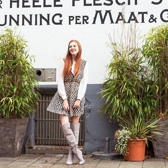 Get this look: http://lb.nu/look/8553485  More looks by Sonja Vogel: http://lb.nu/retrosonja  Items in this look:  Alice's Pig Dress   #preppy #retro #romantic #overkneeboots #overtheknee #otkboots #amsterdam #dutch