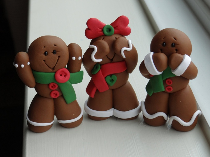 Ginger Bread Man Hear no evil, See no evil, Speak no evil Clay set. $25.00, via Etsy.