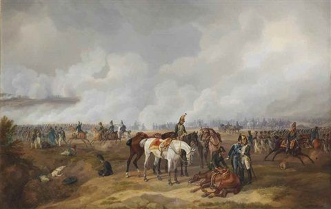 In the battle of the Moscwa: Napoleon's army during the Battle of Borodino, Moscow by Albrecht Adam
