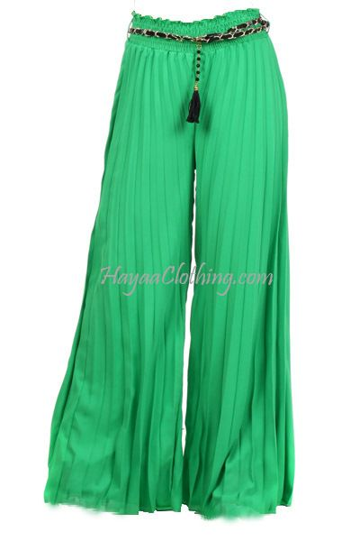 Hayaa Clothing - Chiffon Accordion Pleats Wide-leg Palazzo Pants - Green, $32.99 (http://www.hayaaclothing.com/chiffon-accordion-pleats-wide-leg-palazzo-pants-green/)