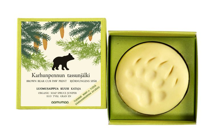 Aamumaa – Karhunpennun tassunjälki. Aamumaan luomusaippua. #habitare2014 #design #sisustus #messut #helsinki #messukeskus