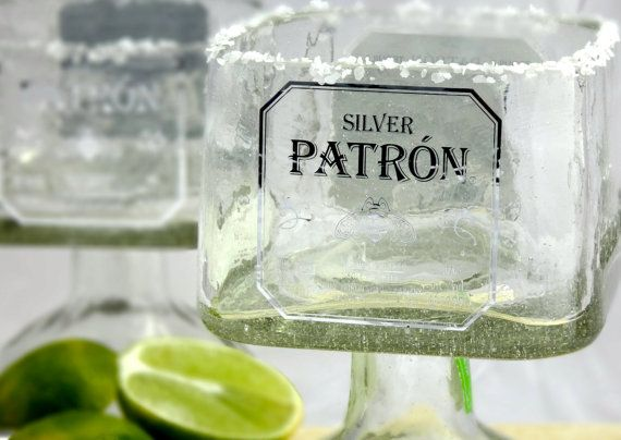 Hand cut glass Patron Tequila bottle recycled into beautiful drinking glasses perfect for an ice cold margarita. 750ml bottles are used to fashion