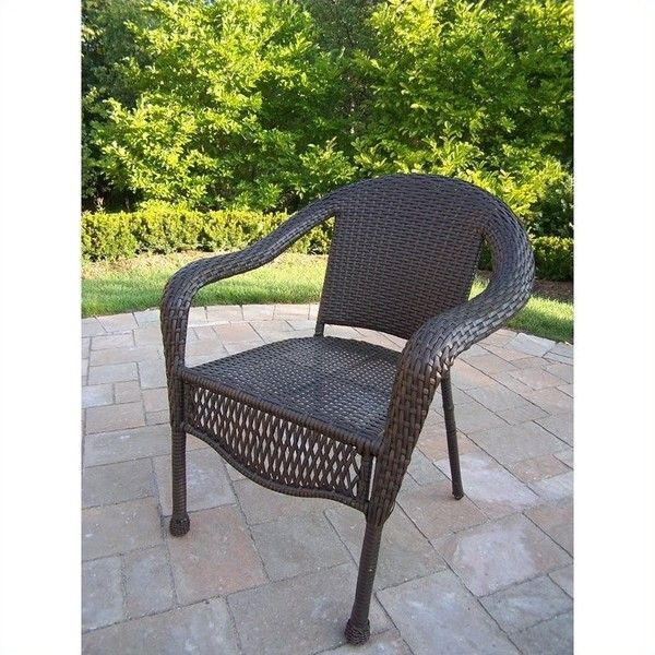 oakland living elite resin wicker chair 720 liked on polyvore featuring home outdoors patio furniture outdoor chairs chocolate wicker patio