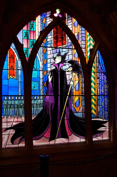 stained glass of Maleficent, from Sleeping Beauty. She's my favorite Disney Villian!