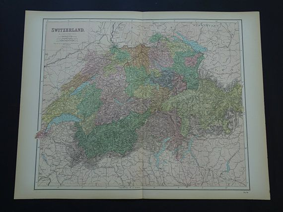 SWITZERLAND 140 years old LARGE map of Swiss by VintageOldMaps